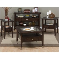 Jofran 827 Series 4 Piece Coffee Table Set in Montego Merlot