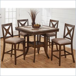 Jofran 794 Series 5-Piece Counter Height Table Set in Tucson Brown
