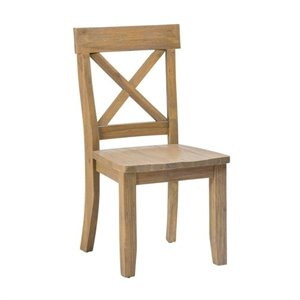 Jofran Boulder Ridge X Back Dining Chair in Wood Grain (Set of 2)