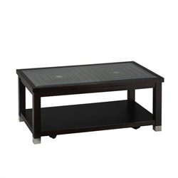Jofran Warren Rectangle Glass Top Coffee Table in Oak