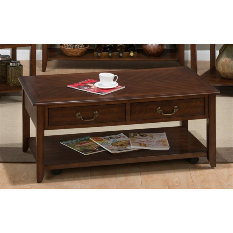 Medium cherry rectangular wood coffee table in cherry 1046 1 Cherry wood coffee tables