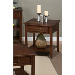 Jofran Medium Cherry Square Wood End Table in Cherry