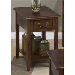 Jofran Medium Cherry Rectangular Wood End Table in Cherry