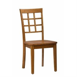 Jofran Simplicity Wood Grid Back Dining Chair in Honey (Set of 2)