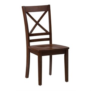 Jofran Simplicity Wood X Back Dining Chair in Caramel (Set of 2)