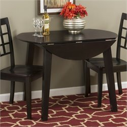 Jofran Simplicity Round Wood Drop Leaf Table in Espresso