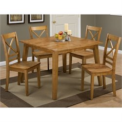 Jofran Simplicity 5 Piece Wood Square Dining Set in Honey