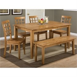 Jofran Simplicity 6 Piece Rectangle Dining Set with Bench in Honey