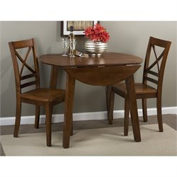 Jofran Simplicity 3 Piece Round Drop Leaf Dinette Set in Caramel