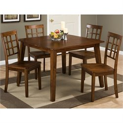 Jofran Simplicity 5 Piece Wood Square Dining Set in Caramel