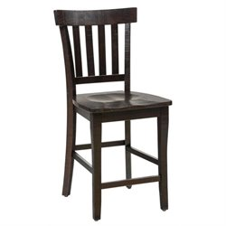 Jofran Prospect Creek Slat Back Counter Stool in Dark Brown (Set of 2)