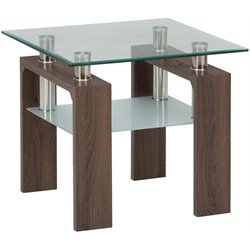 Jofran Compass Glass End Table in Chrome and Wood