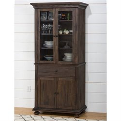 Jofran Geneva Hills Wood China Cabinet in Brown