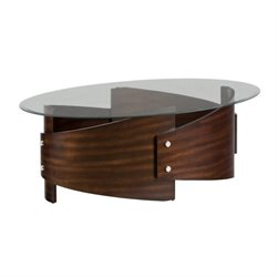 Jofran Waterville Glass Oval Coffee Table in Walnut