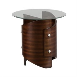 Jofran Waterville Glass Round End Table in Walnut