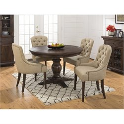 Jofran Geneva Hills 5 Piece Dining Set with Button Tufted Chairs