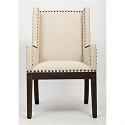 Jofran Pacific Heights Upholstered Dining Arm Chair in Bisque and Coffee