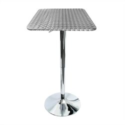 Lumisource Bistro Square Bar Table in Silver
