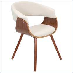 Lumisource Vintage Mod Dining Chair in Walnut and Cream