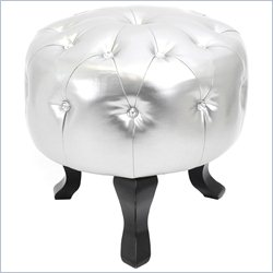 Lumisource Pouf Round Ottoman in Silver