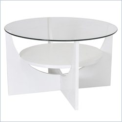 Lumisource U-shaped Round Coffee Table in White