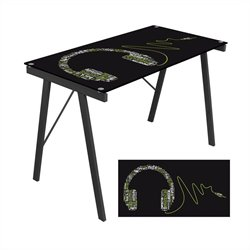 Lumisource Headphone Graphic Top Exponent Desk in Black