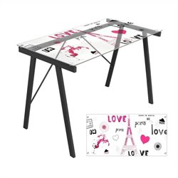 Lumisource Love in Paris Graphic Top Exponent Desk in Black