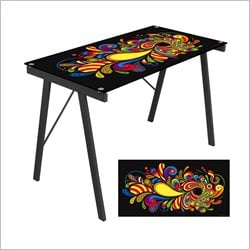 Lumisource Psychadelic Graphic Top Exponent Desk in Black