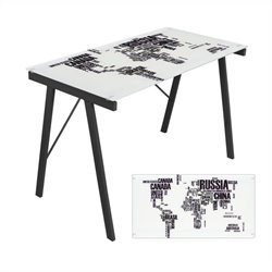 Lumisource World Map Graphic Top Exponent Desk in Black