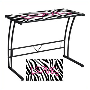 Lumisource Zebra Love Graphic Top Sigma Desk in Black