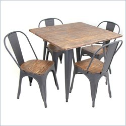 Lumisource Oregon 5-piece Dining Set in Gray