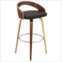 Lumisource Grotto Barstool in Walnut and Brown