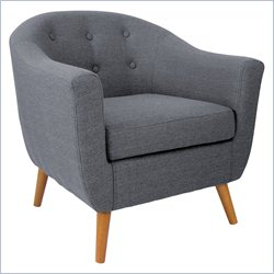 Lumisource Rockwell Tufted Accent Barrel Chair in Gray