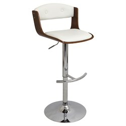 Adjustable Bar Stool in White and Walnut