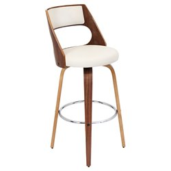 Lumisource Cecina Swivel Bar Stool in White and Walnut Brown