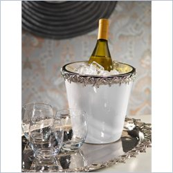 Zodax White Ceramic Wine Cooler with Starfish Metal Trim