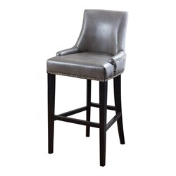 Abbyson Living Brennan Leather Bar Stool in Gray