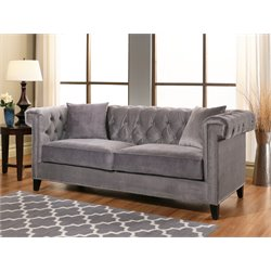 Abbyson Living Samantha Velvet Sofa in Gray