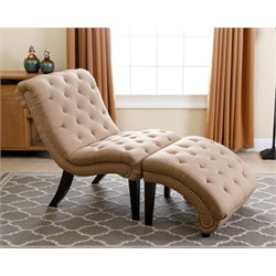 Abbyson Living Brantley Tufted Chaise Lounge with Ottoman in Beige