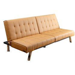 Abbyson Living Jackson Leather Foldable Sleeper Sofa in Camel