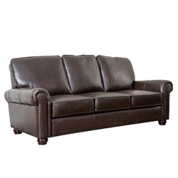 Abbyson Living Bellagio Leather Sofa in Brown