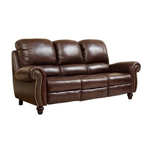 Abbyson Living Cambridge Leather Pushback Sofa in Dark Burgundy