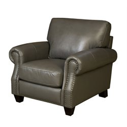 Abbyson Living Lenny Leather Armchair in Gray
