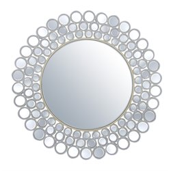Abbyson Living Wilshire Round Decorative Wall Mirror in Silver
