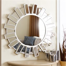 Abbyson Living Cambria Round Decorative Wall Mirror in Silver