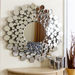Abbyson Living Buchon Round Bubble Decorative Wall Mirror in Silver