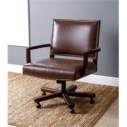 Abbyson Living Isaac Leather Office Chair in Brown