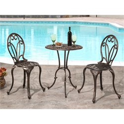 Abbyson Living Violet Cast Aluminum 3 Piece Bistro Set in Copper