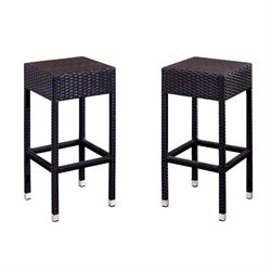 Abbyson Living Caden Outdoor Wicker Bar Stools in Espresso (Set of 2)