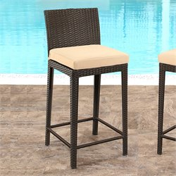 Abbyson Living Bradley Wicker Bar Stool in Espresso